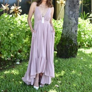 Linen High-Low Dress